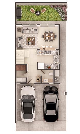 Foto de casa en venta en Guadalupe Nuevo León, planta baja del modelo Soria en Paseo Amberes.